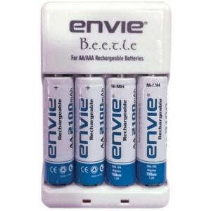 Envie Beetle ECR-20 Battery Charger with 4 Pieces 2100 mAh AA Ni-MH Camera Battery