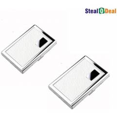Stealodeal White Leather Stainless Steel Card Holder (Pack of 2)
