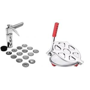 SM Combo of Stainless Steel Kitchen Press & Poori Maker