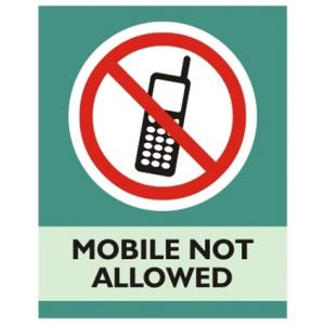 Zatpat Printing P0014 Mobile Not Allowed Sign Board, Size: 200x165 mm
