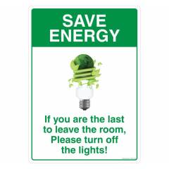 Safety Sign Store Save Energy, Turn off Lights Sign Board, FS202-A4AL-01