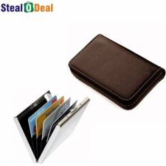 Stealodeal Full Brown Leather with Silver Plain Metal Card Holder
