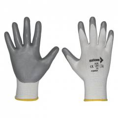 Mallcom 10 Inch White Liner with Grey NBR Coating Safety Gloves, P 25NGA (Pack of 6)