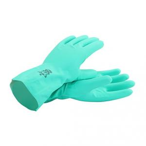 Mallcom 9 Inch Green Flocklined Nitrile Safety Gloves, NF153G (Pack of 4)