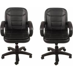 Mezonite Medium Back Leatherette Black Office Executive Chair (Pack of 2)