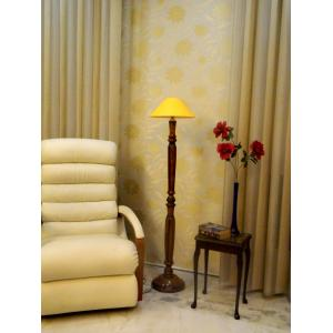 Tucasa Vintage Wooden Lamp with Yellow Shade, LG-929