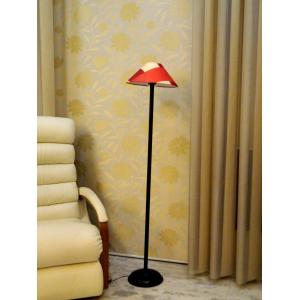 Tucasa Black Metal Floor Lamp with Red Check Pyramid Shade, LG-915