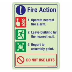 Safety Sign Store Fire Action-Do Not Use Lifts Sign Board, NG201-A4AL-01