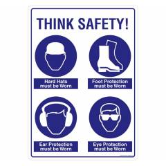 Safety Sign Store Think Safety Sign Board, SS809-A3PC-01