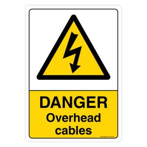 Safety Sign Store Danger: Overhead Cables Sign Board, SS304-A5PC-01
