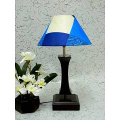 Tucasa Flamingo Wooden Table Lamp with Blue Check Shade, LG-990