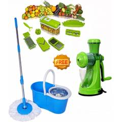 Navisha Assorted Steel Mop with Free Vegetable Cutter & Juicer, MOP0591