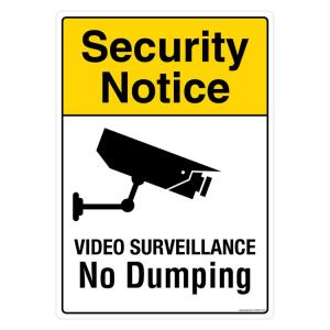 Safety Sign Store Security Notice: Video Surveillance, No Dumping Sign Board, PS604-A3AL-01
