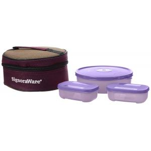 Signoraware Pink Classic Lunch Box Set with Bag, 501