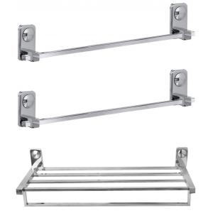 Abyss ABDY 1219 Glossy Finish Stainless Steel 1 Towel Rack & 2 Towel Bar Combo