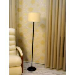 Tucasa Black Metal Floor Lamp with Off White Cylinder Shade, LG-898