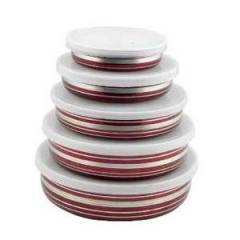 MLT Set of 5 Red Bowls
