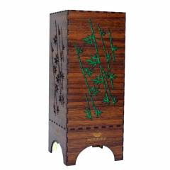 Dizionzrio DTBLBBR Green Handicrafts Wooden Look Hand Made Night Table Lamp