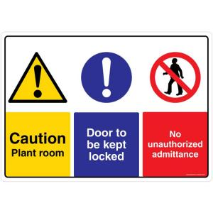 Safety Sign Store Caution: Plant Room, Door to be kept Locked Sign Board, CW402-A3V-01
