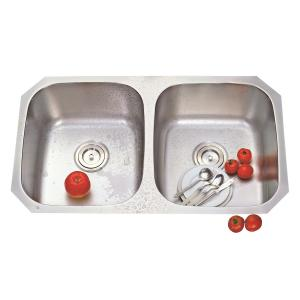 Deepali Double Bowl Kitchen Sink, DG-A 300B, Overall Size: 32.1/2 Inch
