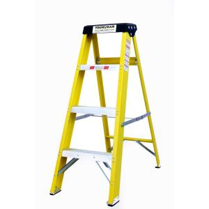 Youngman 4 Step 150kg Capacity Fiberglass Yellow Shockproof Ladder