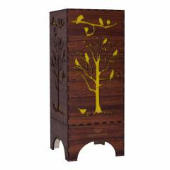 Dizionzrio DTBLTRBR Yellow Handicrafts Wooden Look Hand Made Night Table Lamp