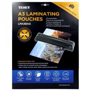 Texet A3 Size High Quality Laminating Pouches, LMA3BAG (Pack of 25)