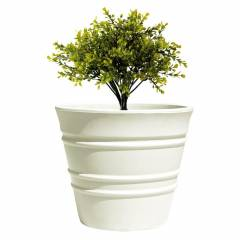 Fox B 9 Inch Round White German Polymer Planter, BR 0912-W