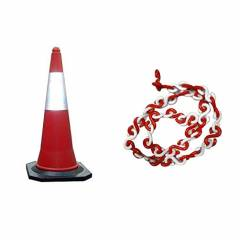 Bellstone PVC Traffic Safety Cone with 5m Chain, 528631 (Pack of 5)