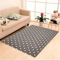 IWS Black Cotton Printed Designer Carpet with Latex Backing, CRT212