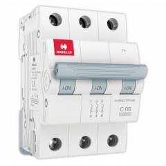 Havells Euro-II 6A Three Pole C Curve MCB, DHMGCTPF006