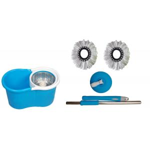 GTC Blue 360 Degree Spin Mop Rotating Pole & Bucket with 2 Microfiber Heads