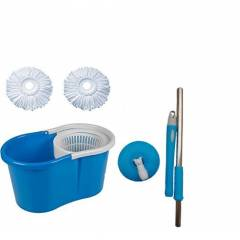 GTC Blue Easy Magic 360 Degree Spin Floor PVC Mop & Bucket with 2 Microfiber Heads