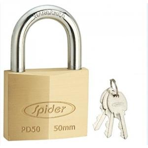 Spider 50mm Cylindrical Solid Brass Pad Lock with 3 Keys, PD50