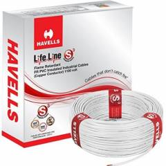 Havells 1 Sq mm Single Core Life Line Plus S3 White HRFR PVC Flexible Cables WHFFDNWA11X0 Length 90 m