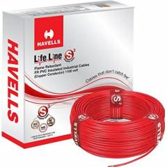 Havells 6 Sq. mm Single Core Life Line Plus S3 Red HRFR PVC Flexible Cables, WHFFDNRA16X0, Length: 90 m