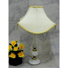 Tucasa Classic Brass Marble Table Lamp, Off White Shade, LG-791
