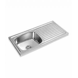 Apollo AS-22 Single Bowl Kitchen Sink with Drainboard, Bowl Size: 16x14 inch