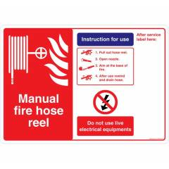 Safety Sign Store Manual Fire Hose Reel Sign Board, FE550-A3PC-01