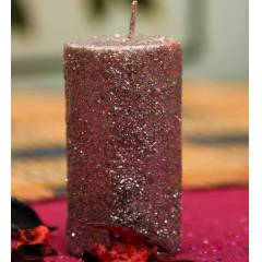 Riflection 3 Inch Silver Decorative Pillar Shaped Sparkle Candle, 1272