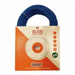 Polycab 0.75 Sq mm Blue FR PVC Insulated Unsheathed Industrial Cable, Length: 90 m