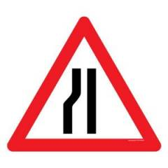 Asian Loto 3 mm Traffic Sign Road Narrows on Left Sign Board, ALC-SGN-9-900