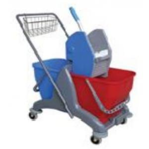 Amsse DB1008 Double Bucket With Caddy Basket Wringer Trolley with Strong Plastic Chassis 25 + 25 Ltr Mop Wringer Bucket