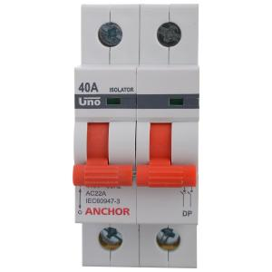 Anchor 40A UNO Series Double Pole Isolator, 98055