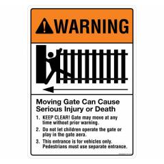 Safety Sign Store Warning: Moving Gate Sign Board, FS113-A4AL-01