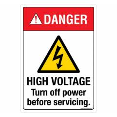 Safety Sign Store Danger: High Voltage Sign Board, SS314-A3AL-01