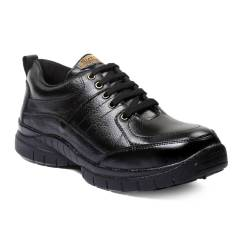 Rich Field SGS1125BLK Low Ankle Black Leather Steel Toe Safety Shoes, Size: 6