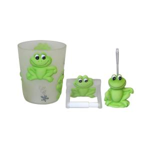 Plumeria Green Frog Wastebasket with Paper Holder & Toilet bowl brush Set