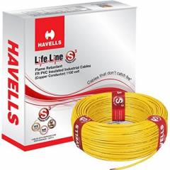 Havells 1 Sq mm Single Core Life Line Plus S3 Yellow HRFR PVC Flexible Cables WHFFDNYA11X0 Length 90 m