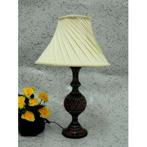 Tucasa Antique Brass Table Lamp with Off White Pleated Shade, LG-851